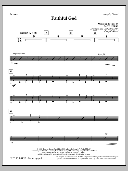 Faithful God - Drums Sheet Music