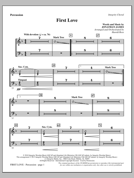 First Love - Percussion Sheet Music