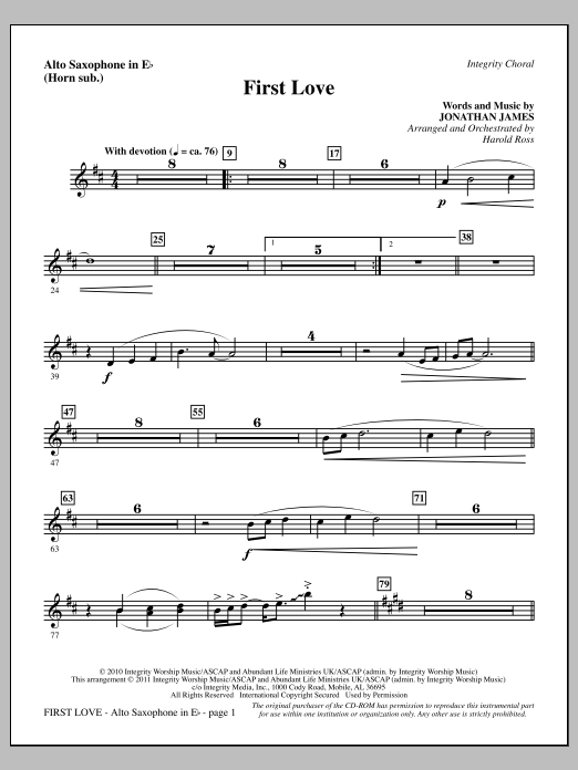 First Love - Alto Sax (sub. Horn) (Choir Instrumental Pak)