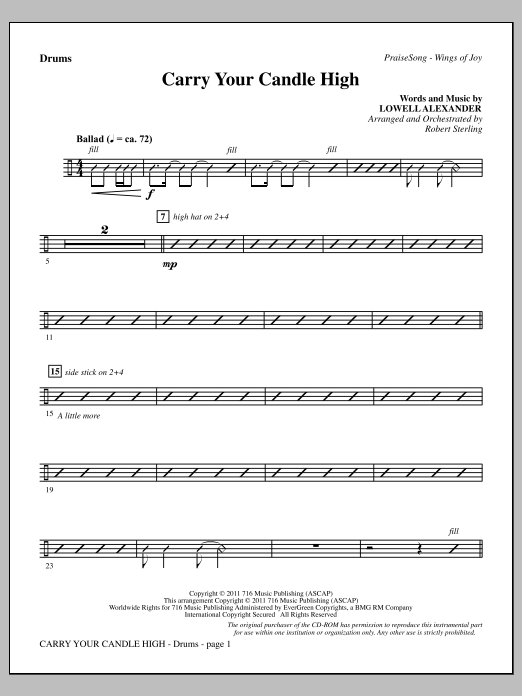 Carry Your Candle High - Drums Sheet Music