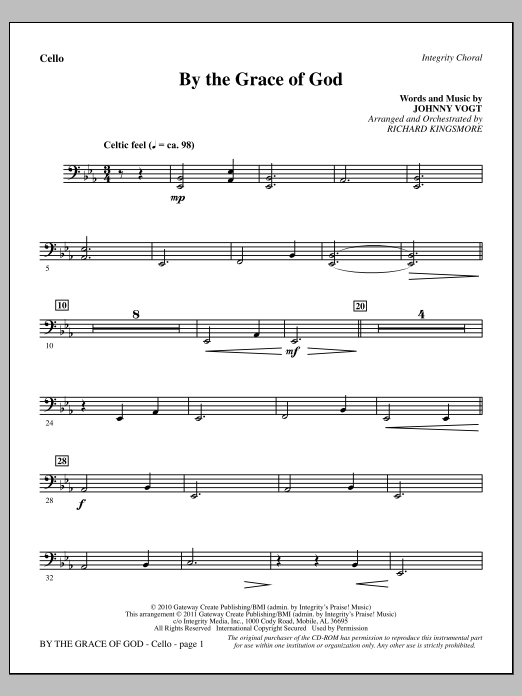 By The Grace Of God - Cello Sheet Music