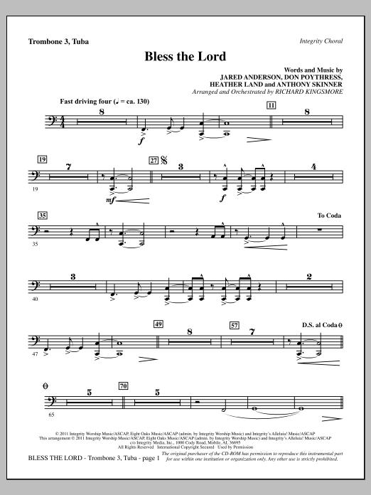 Bless The Lord - Trombone 3/Tuba Sheet Music