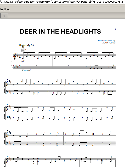 Deer In The Headlights Sheet Music