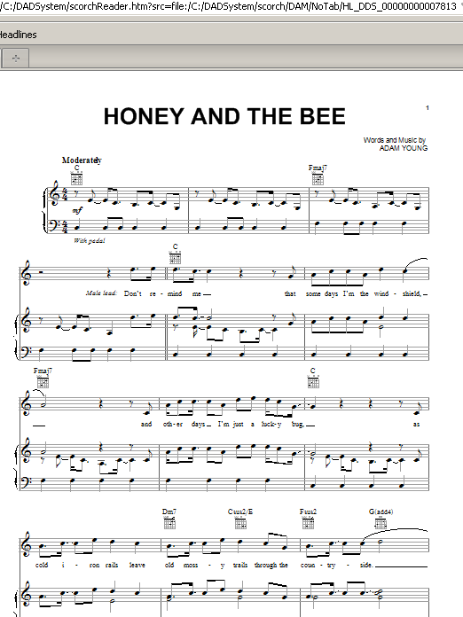 Partition piano Honey And The Bee de Owl City - Piano Voix Guitare (Mélodie Main Droite)
