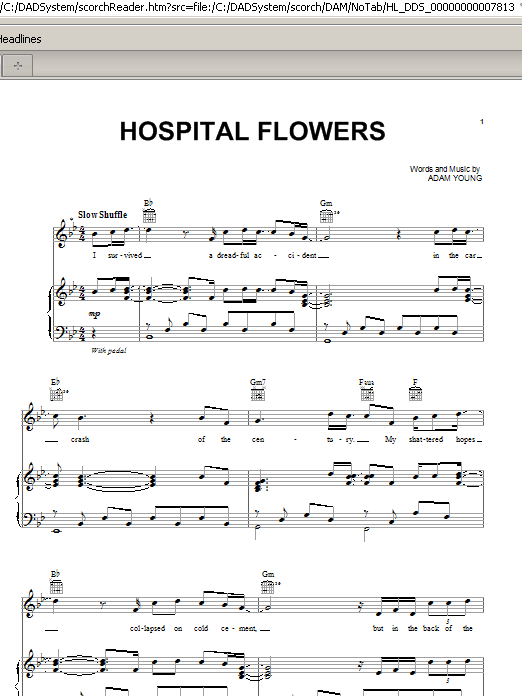 Hospital Flowers Sheet Music