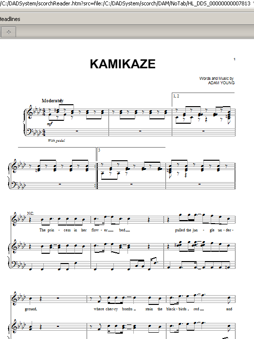 Partition piano Kamikaze de Owl City - Piano Voix Guitare (Mélodie Main Droite)