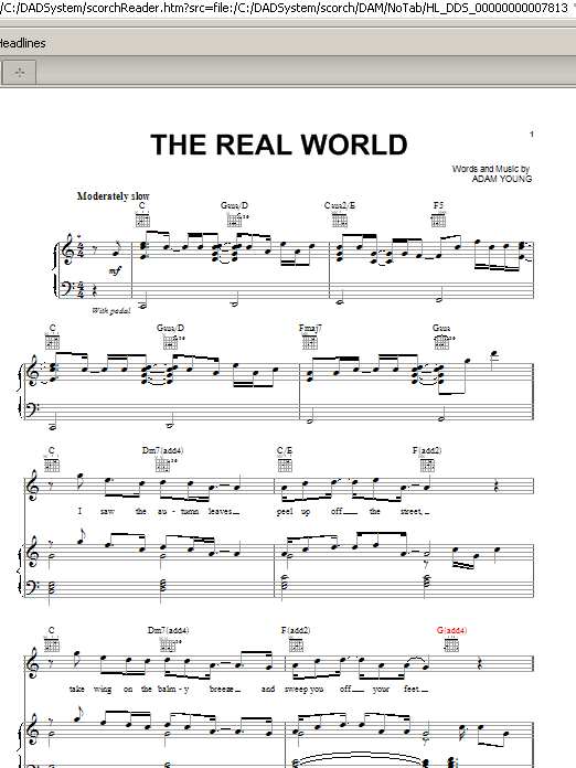 The Real World (Piano, Vocal & Guitar (Right-Hand Melody))
