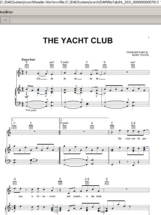 The Yacht Club Sheet Music