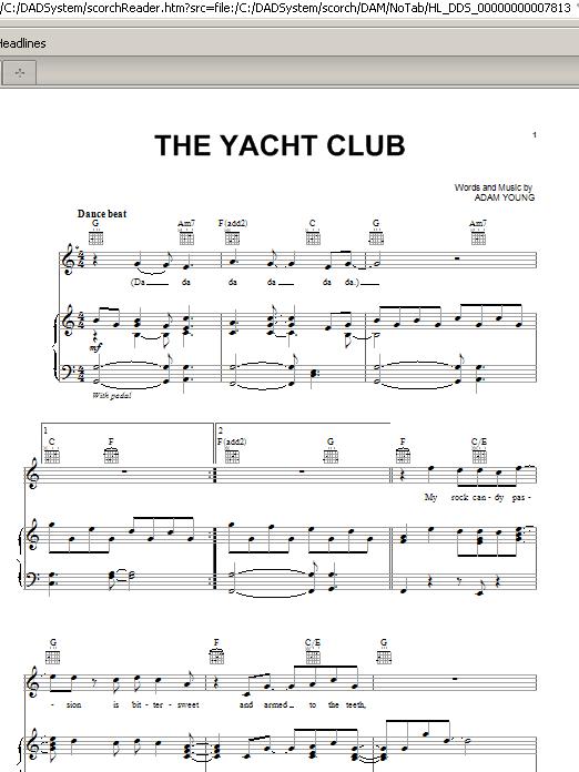 Partition piano The Yacht Club de Owl City - Piano Voix Guitare (Mélodie Main Droite)