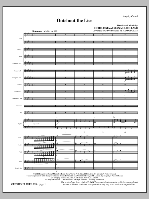 Outshout The Lies - Full Score Sheet Music