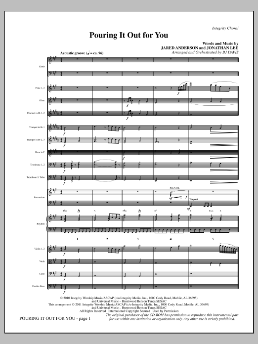 Pouring It Out For You - Full Score Sheet Music