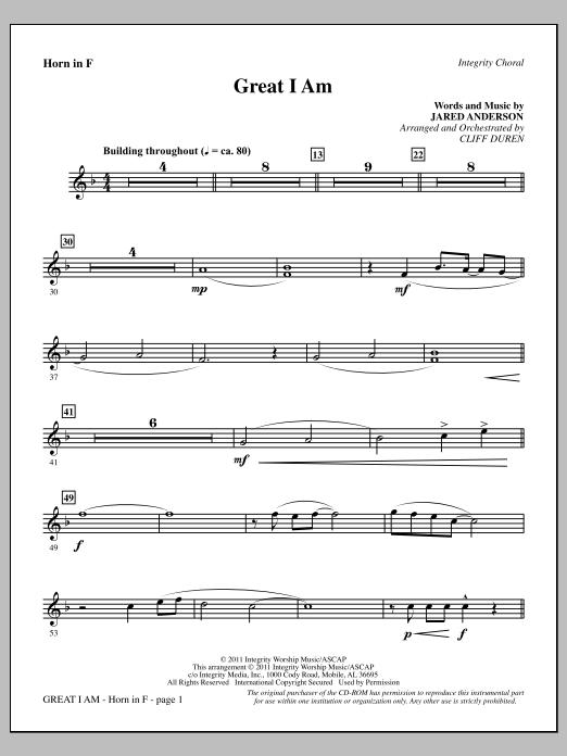Great I Am - F Horn Sheet Music