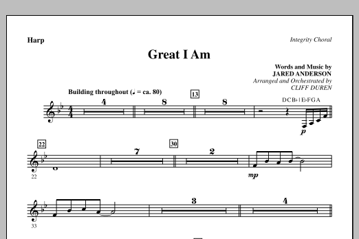 Great I Am - Harp Sheet Music