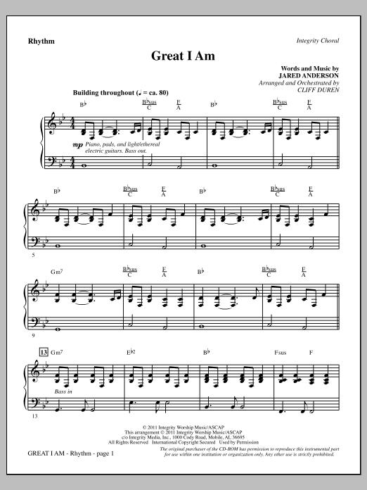 Great I Am - Rhythm Sheet Music