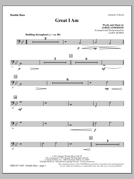 Great I Am - Double Bass Sheet Music