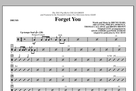 Forget You - Drums Sheet Music