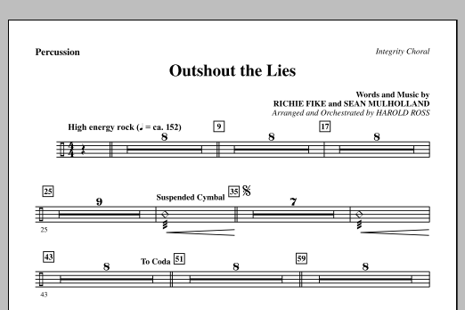 Outshout The Lies - Percussion Sheet Music