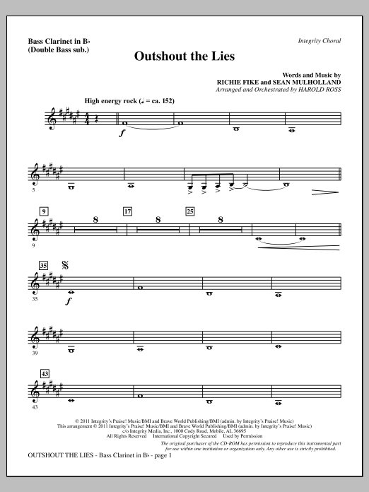 Outshout The Lies - Bass Clarinet (sub. dbl bass) Sheet Music