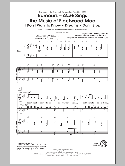 Partition chorale Glee Sings The Music Of Fleetwood Mac de Glee Cast - SATB