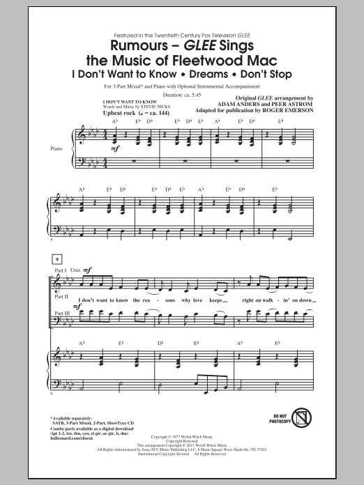Don't Stop (arr. Roger Emerson) (3-Part Mixed Choir)