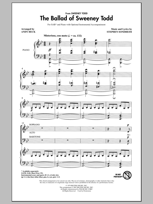 The Ballad Of Sweeney Todd Sheet Music