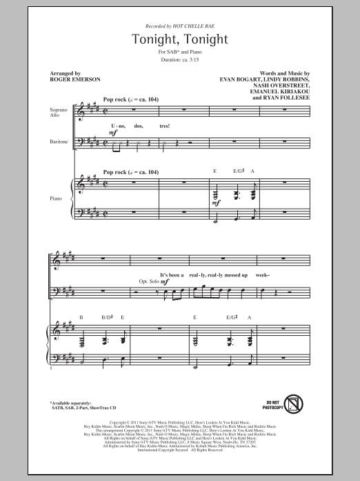 Tonight Tonight (arr. Roger Emerson) Sheet Music