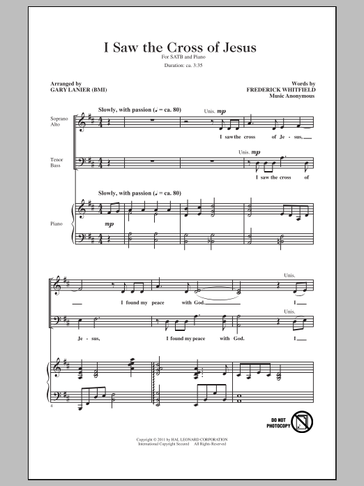 I Saw The Cross Of Jesus Sheet Music
