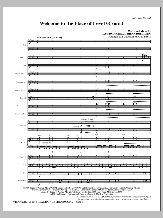 Welcome To The Place Of Level Ground - Full Score Sheet Music