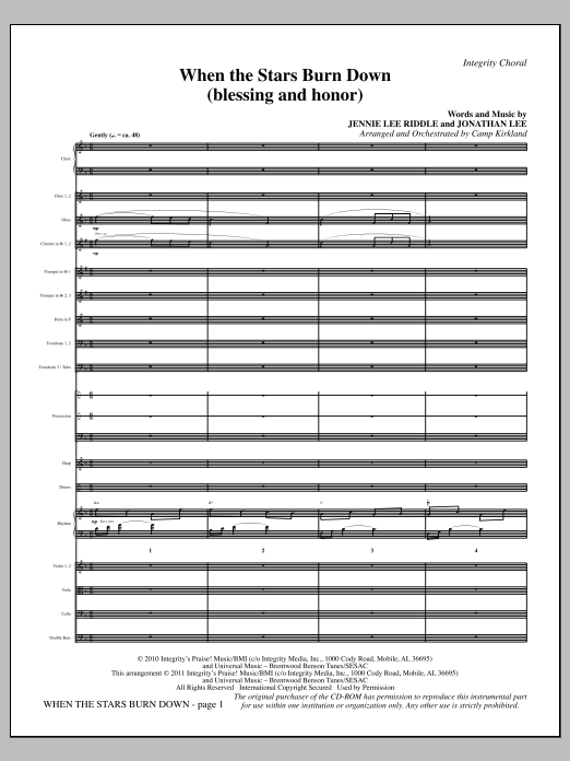 When The Stars Burn Down (Blessing And Honor) - Full Score Sheet Music