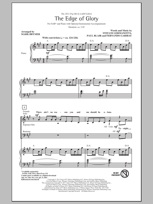 The Edge Of Glory (arr. Mark Brymer) Sheet Music