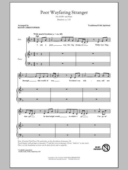 Partition chorale Poor Wayfaring Stranger de Keith Christopher - SATB