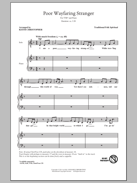 Poor Wayfaring Stranger Sheet Music