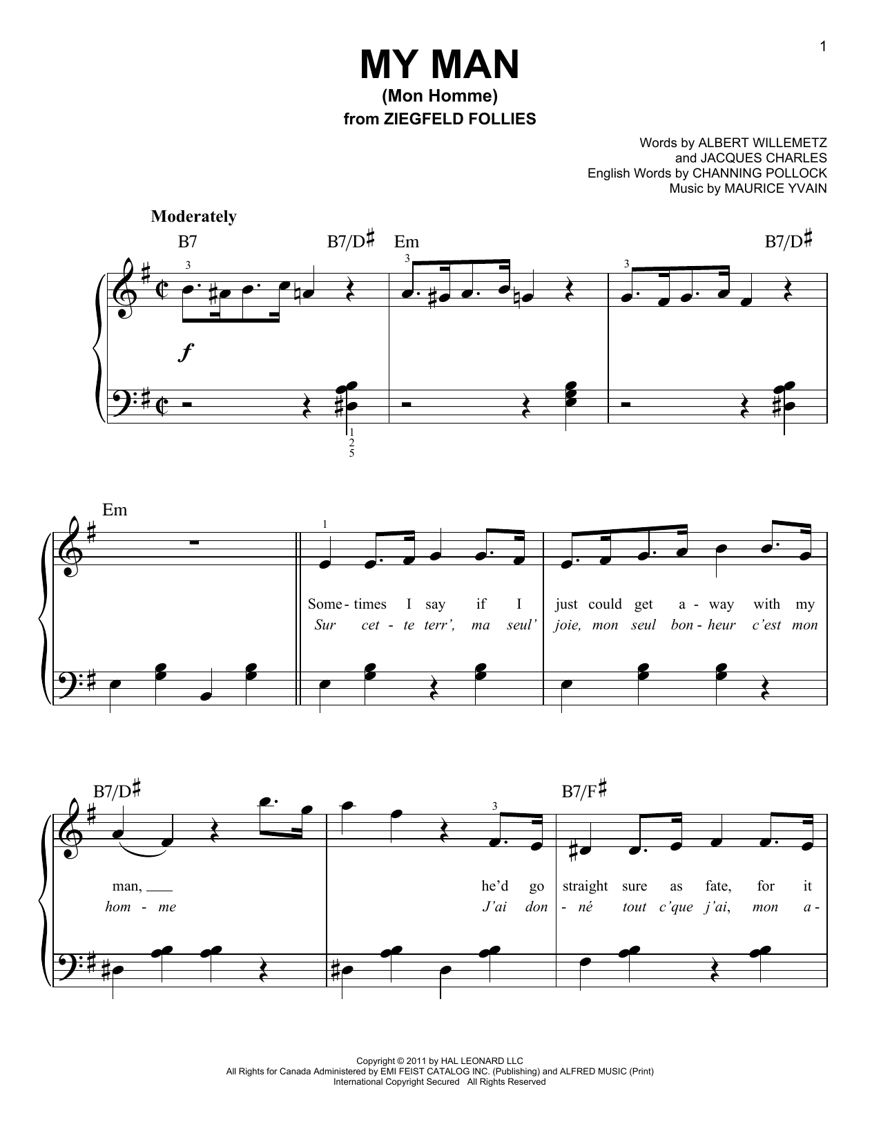 My Man (Mon Homme) Sheet Music