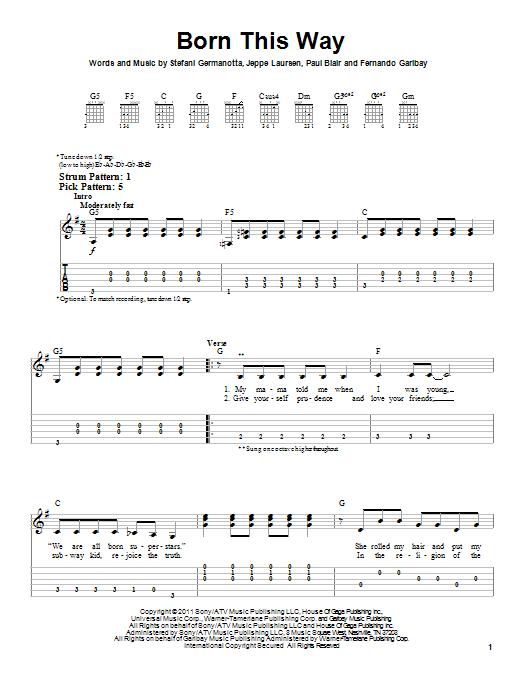 Tablature guitare Born This Way de Lady Gaga - Tablature guitare facile