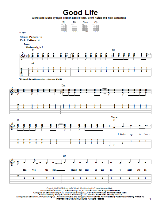 Good Life (Easy Guitar Tab)