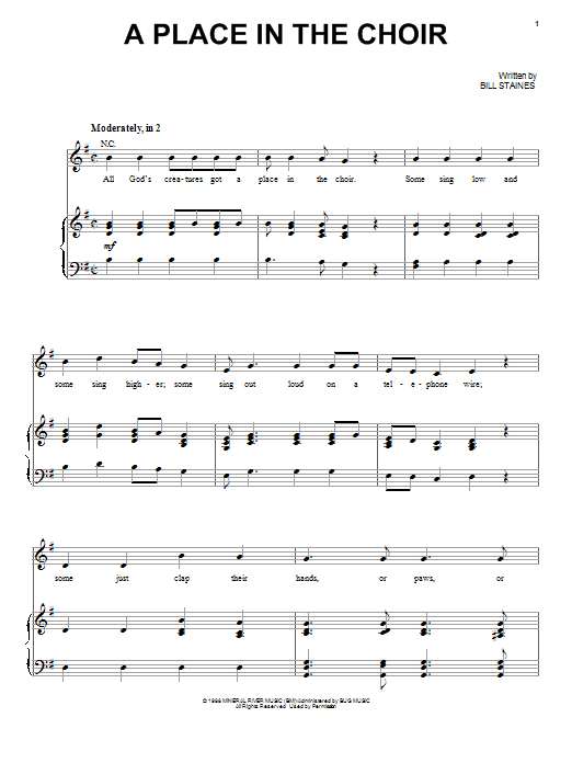 A Place In The Choir Sheet Music