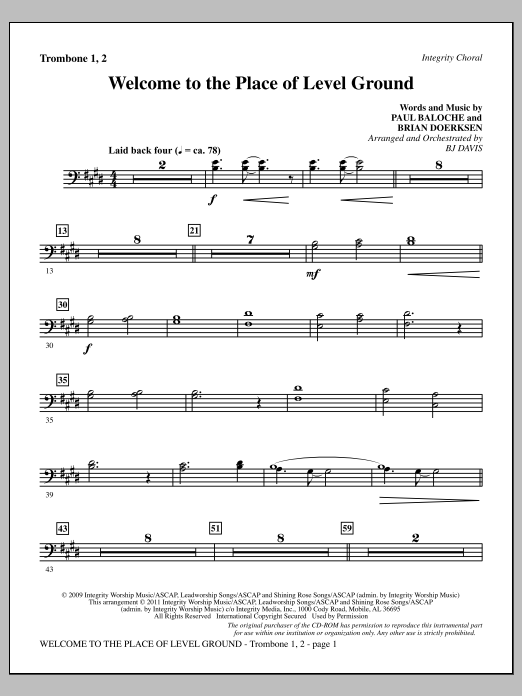 Welcome To The Place Of Level Ground - Trombone 1 & 2 (Choir Instrumental Pak)