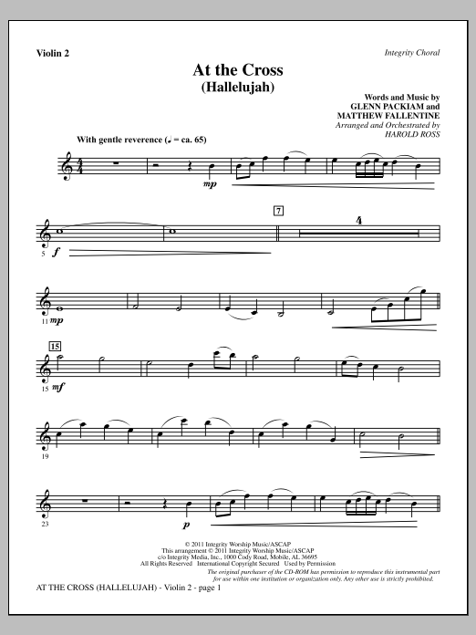 At The Cross (Hallelujah) - Violin 2 Sheet Music