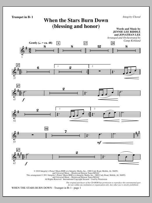 When The Stars Burn Down (Blessing And Honor) - Trumpet 1 (Choir Instrumental Pak)