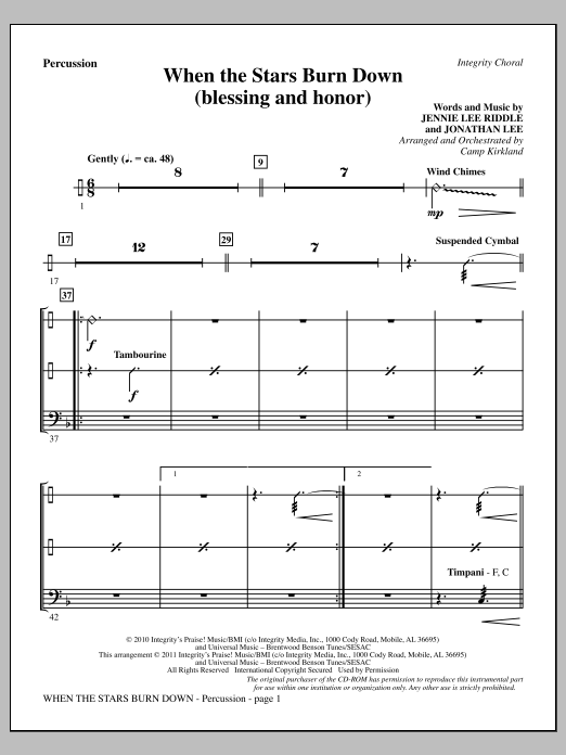 When The Stars Burn Down (Blessing And Honor) - Percussion Sheet Music