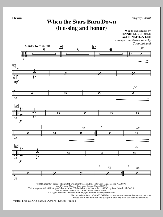 When The Stars Burn Down (Blessing And Honor) - Drums Sheet Music