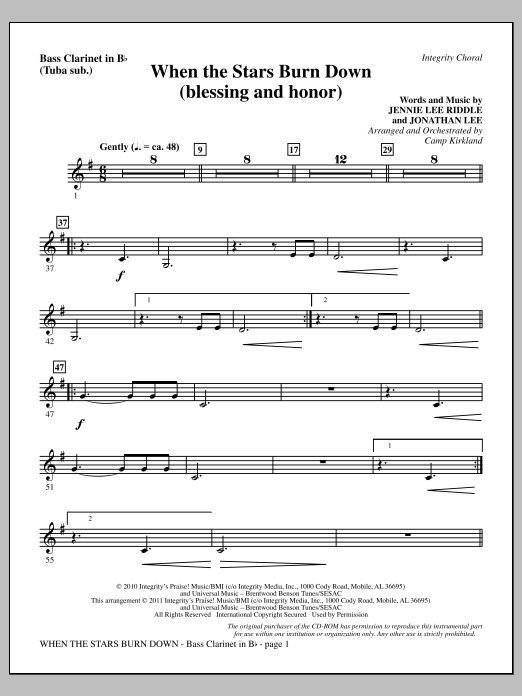 When The Stars Burn Down (Blessing And Honor) - Bass Clarinet (sub. Tuba) Sheet Music