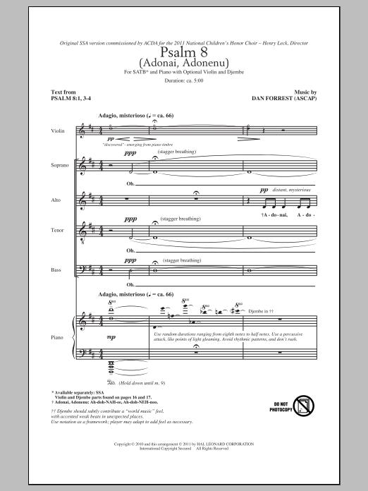 Psalm 8 (Adonai, Adonenu) Sheet Music