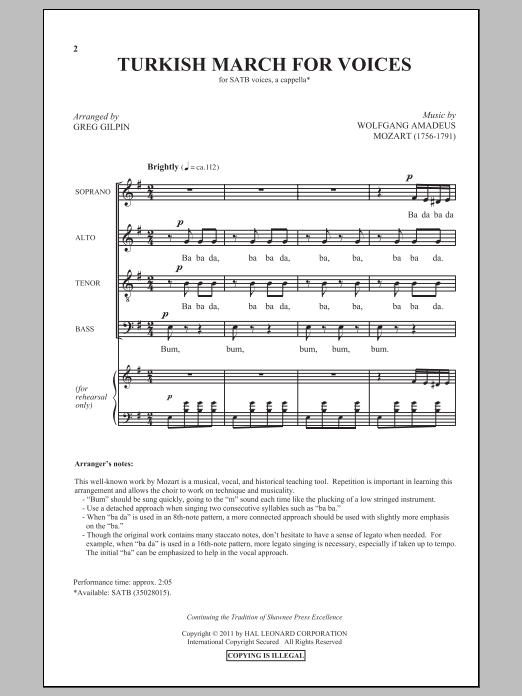 Partition chorale Turkish March de Greg Gilpin - SATB