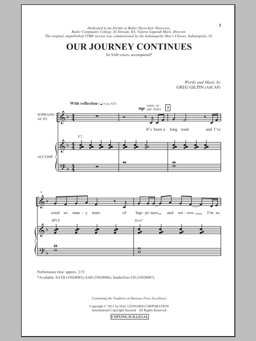 Our Journey Continues Sheet Music