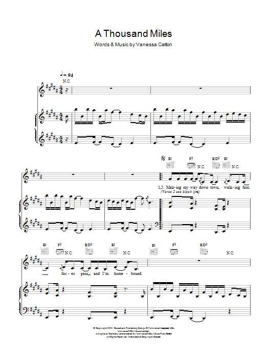 A Thousand Miles Sheet Music | Vanessa Carlton | Piano & Vocal