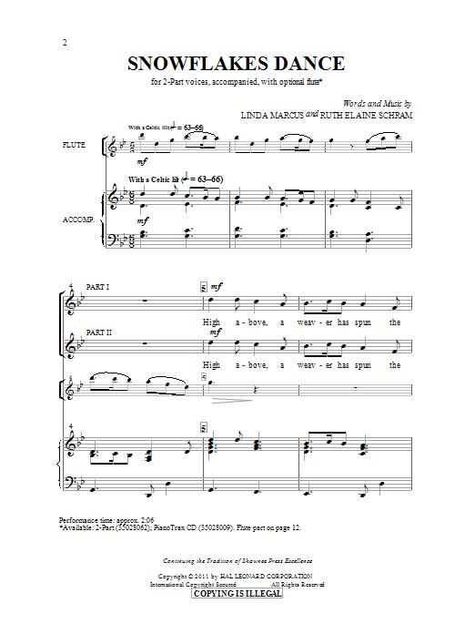 Partition chorale Snowflakes Dance de Ruth Elaine Schram - 2 voix