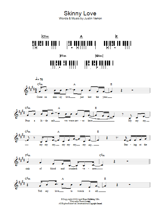 Skinny Love Sheet Music To Download