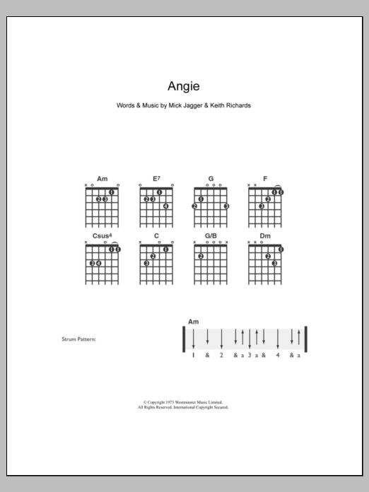 Angie Sheet Music The Rolling Stones Guitar