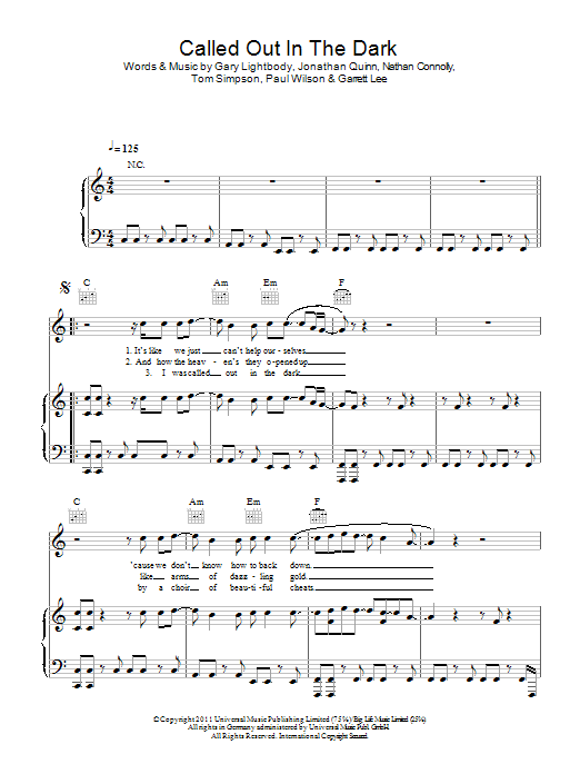 Called Out In The Dark Sheet Music Snow Patrol Piano Vocal